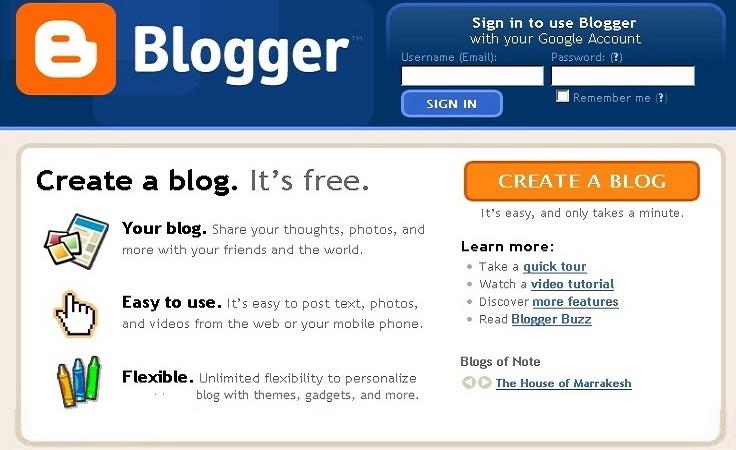 Blogger- free cms