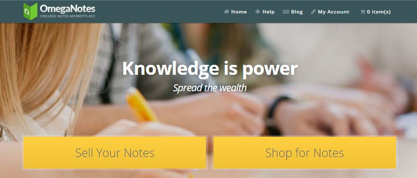 sell class notes at Omeganotes