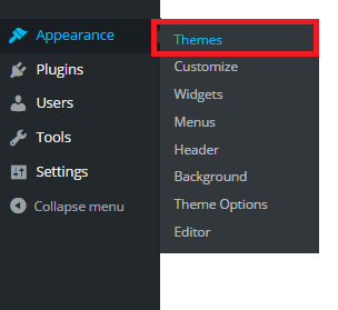 Select theme in how to install wordpress theme