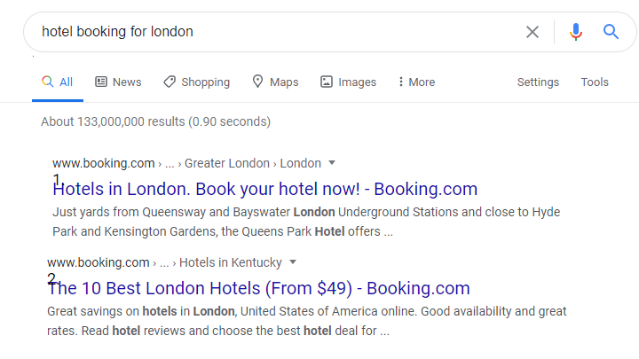 hotel booking domain