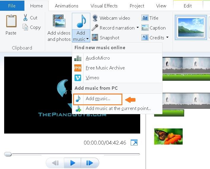 add-audio-in-movie-maker