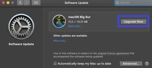 Download the update by clicking on the upgrade option