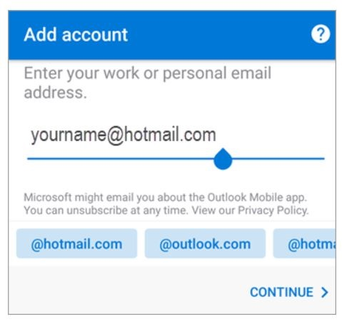 Set up Email account @ hotmail